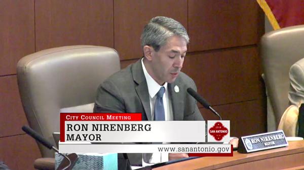 Mayor Ron Nirenberg discusses his vote on the paid sick leave ordinance. - VIA TVSA