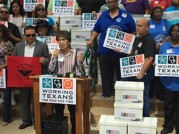 AFL-CIO's Linda Chavez Thompson fires up the crowd in front of City Hall after Working Texans for Paid Sick Time delivered its signed petitions to city officials earlier this year. - SANFORD NOWLIN
