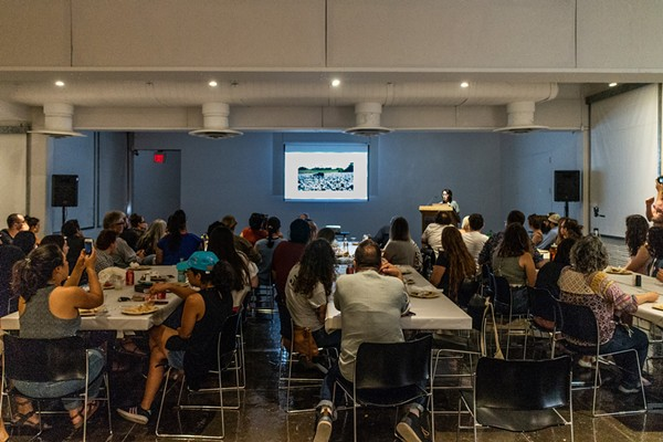 San Antonio artist Jenelle Esparza presenting at the Artpace potluck in May - PHOTOS BY CHRIS CASTILLO, COURTESY OF ARTPACE