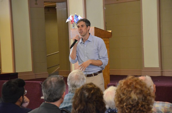 Beto O'Rourke speaking at a town hall in downtown San Antonio. - BRYAN RINDFUSS