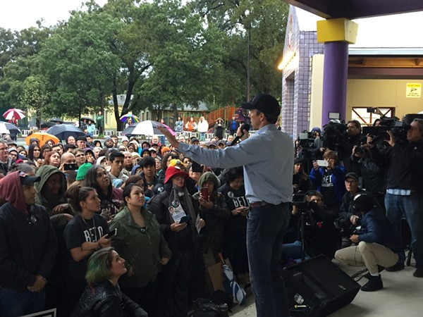 Beto O'Rourke speaks to the crowd at Plaza Guadalupe Monday night. - SANFORD NOWLIN