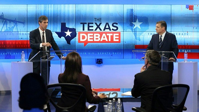 Beto O'Rourke makes a point during Tuesday's televised debate with Ted Cruz. - VIA KENS5'S TWITTER