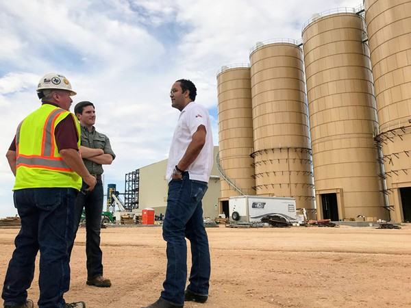 Congressman Will Hurd tours a mine facility Winkler County used to produce sand for the fracking industry. - VIA WILL HURD'S TWITTER
