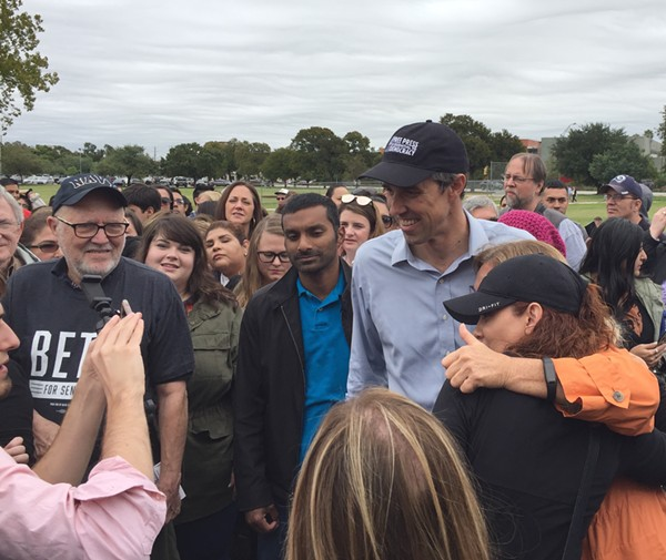 Beto O'Rourke gets close to supporters at Lion's Field. - SANFORD NOWLIN