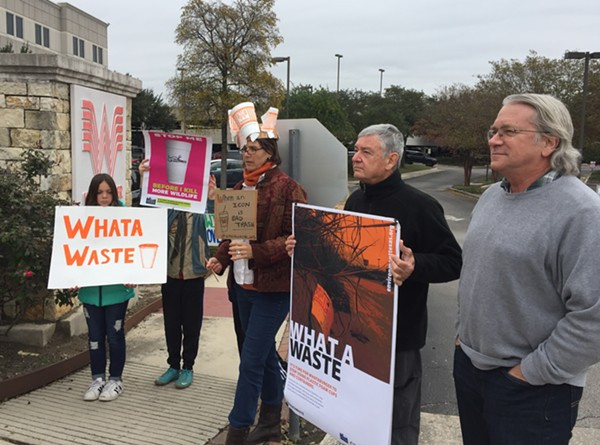 Protesters assemble in front of Whataburger's corporate offices in North Central San Antonio. - SANFORD NOWLIN