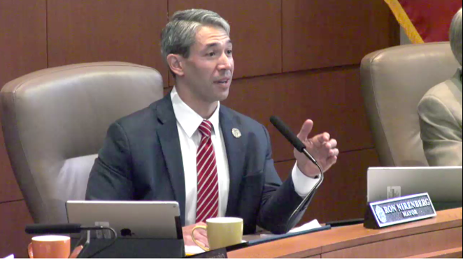 Mayor Ron Nirenberg addresses a recent council meeting. - SCREENSHOT VIA TVSA