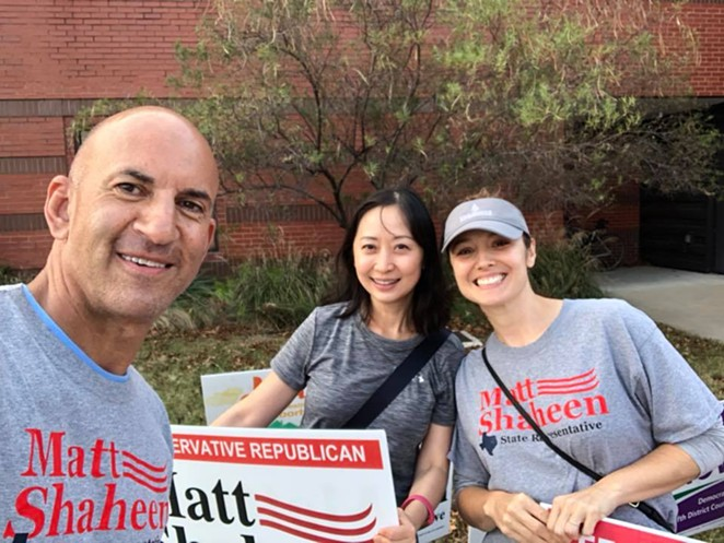 Matt Shaheen (left) snaps a selfie with supporters during a recent campaign. - VIA MATT SHAHEEN'S FACEBOOK PAGE