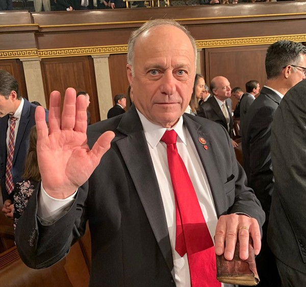 Rep. Steve King, shown here during a swearing-in ceremony, has a history of making inflammatory statements about race. - TWITTER / STEVEKINGIA