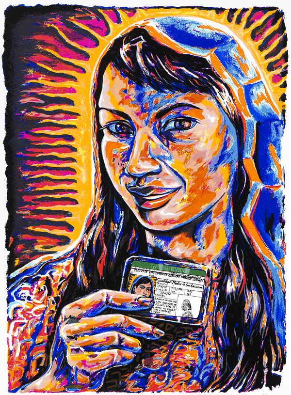 ISABEL MARTINEZ, VG GOT HER GREEN CARD, 2001. SCREENPRINT. COLLECTION OF THE MCNAY ART MUSEUM, GIFT OF HARRIETT AND RICARDO ROMO.