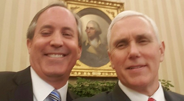 Ken Paxton (left) selfies it up with fellow partisan Vice President Mike Pence. - TWITTER / KENPAXTONTX