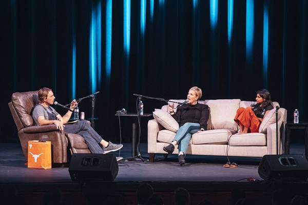 Armchair Expert hosts Shepard and Padman speak with Bréne Brown at the Austin, TX live show - COURTESY OF ARMCHAIR EXPERT