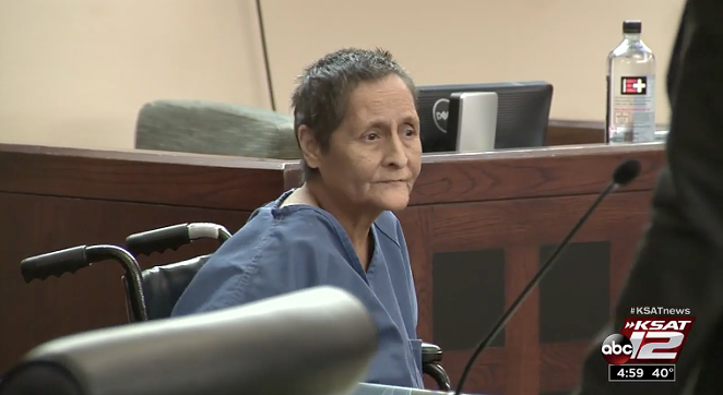 Beatrice Sampayo, 65, received a reduced bond due to needing cancer treatment. - SCREENSHOT VIA KSAT REPORT