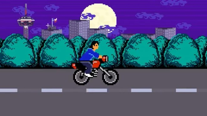 8-bit Rene Villanueva rides his motorcycle on 281. - FACEBOOK / IDYLL GREEN