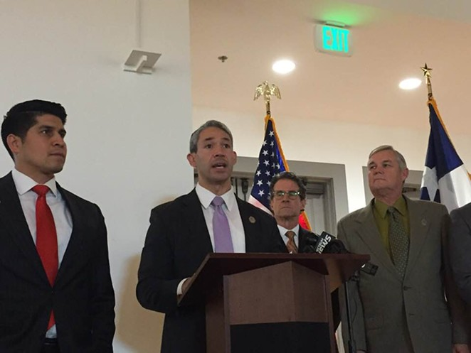 Mayor Ron Nirenberg discusses the city's plan to take down billboard faces. - SANFORD NOWLIN