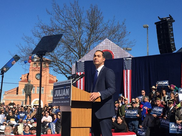 Julián Castro speaks at the San Antonio rally announcing his candidacy for the Democratic nomination for president. - SANFORD NOWLIN
