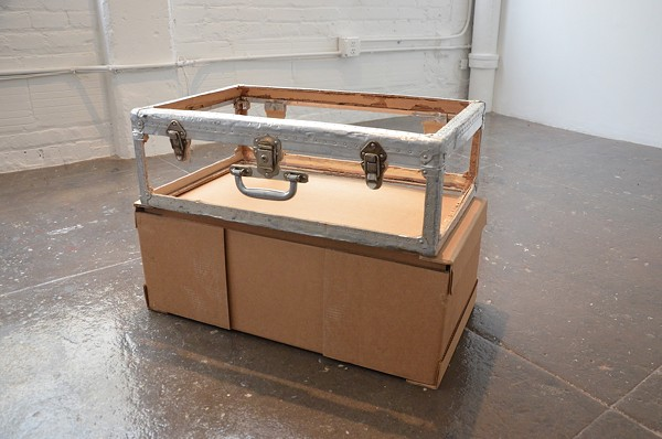 A deconstructed trunk factors into Sama Alshaibi's exhibition as a sculpture and photographic prop - BRYAN RINDFUSS