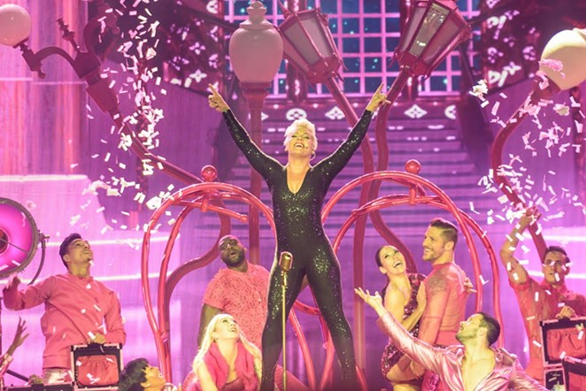 P!nk rocking out during her performance at the AT&T Center - JAIME MONZON