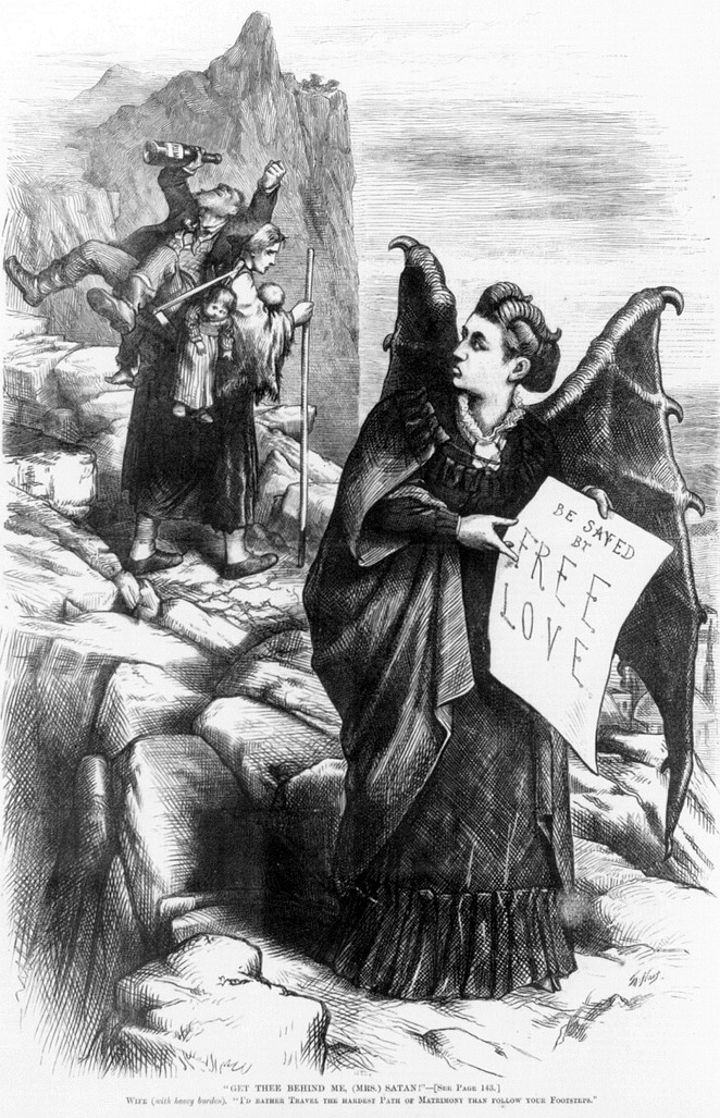 "Thomas Nast's 1872 illustration of Victoria Woodhull as ""Mrs. Satan"" - WIKIMEDIA COMMONS"