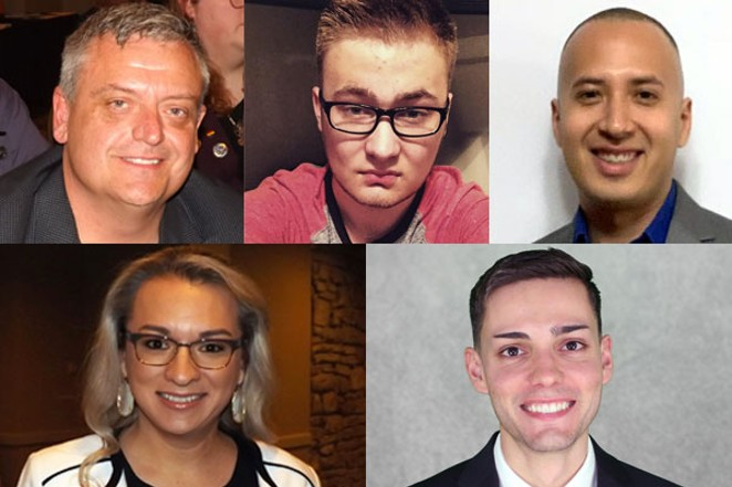 LGBTQ candidates running for San Antonio City Council: Justin Holley (District 1); Colton Unden (District 1); Joel Mendoza (District 4); Frankie Gonzales-Wolfe (District 8); and Nicholas Balderas (District 9). - (HOLLEY AND GONZALEZ-WOLFE PHOTOS: SAM SANCHEZ. ALL OTHER PHOTOS: FACEBOOK)