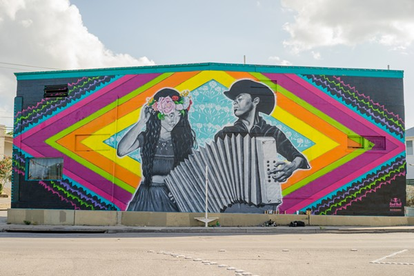 One of two Red Bull-commissioned Fiesta murals Los Otros created along the St. Mary's Strip. - COURTESY OF LOS OTROS