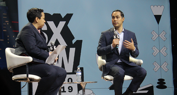 Julian Castro speaks onstage during an appearance at this year's South by Southwest festival. - SARAH MARTINEZ