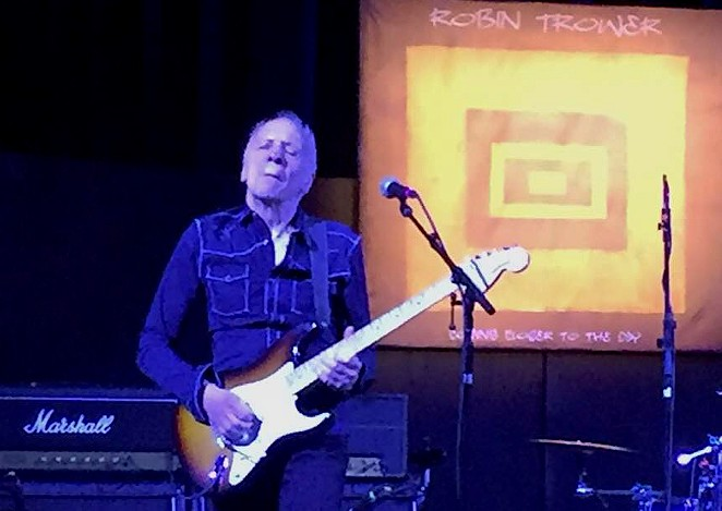 "Robin Trower launches into the solo of slow blues number ""Lonesome Road."" - SANFORD NOWLIN"