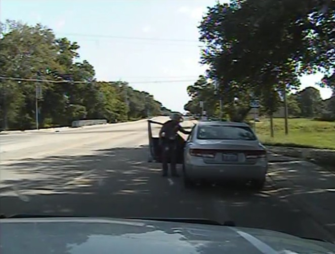 After Sandra Bland stood up for her rights, activists argue this DPS officer threatened her with a Taser. - TEXAS DEPARTMENT OF PUBLIC SAFETY