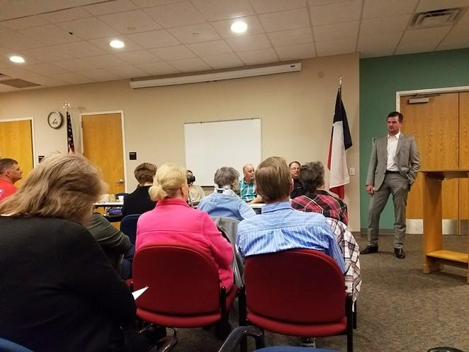Sen. Brandon Creighton, the bill's sponsor, meets with constituents. - TWITTER / SENCREIGHTON