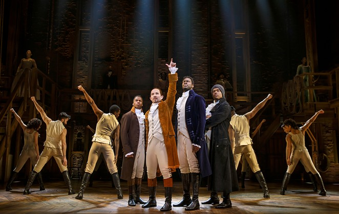 Elijah Malcomb, Joseph Morales, Kyle Scatliffe, Fergie L. Philippe in the national tour of Hamilton - JOAN MARCUS