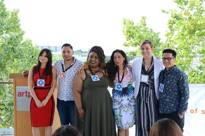 "From left: Artist Foundation of San Antonio 2019 grant winners Edna Alejandra Longoria, Jose Villalobos, Andrea ""Vocab"" Sanderson, Xelena Gonzalez, Laura Van Prooyen and Ryan Takaba. - BRYAN RINDFUSS"