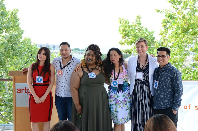 "From left: Artist Foundation of San Antonio 2019 grant winners Edna Alejandra Longoria, Jose Villalobos, Andrea ""Vocab"" Sanderson, Xelena Gonzalez, Laura Van Prooyen and Ryan Takaba. - BRYAN RINDFUSS"