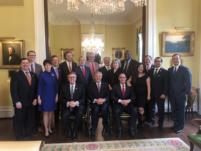 Gov. Greg Abbott, Lt. Gov. Dan Patrick, and House Speaker Dennis Bonnen stop for a photo op at the governor's mansion. - TWITTER / @REPDENNISBONNEN
