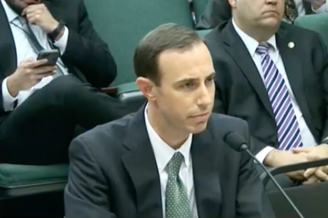 David Whitley answers questions from the Senate's nominations committee earlier this session. - YOUTUBE / KUT AUSTIN
