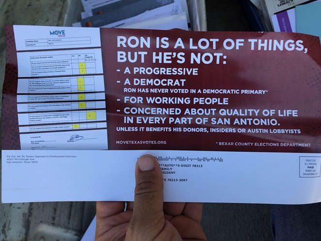 This flyer from Texans Opposed to Professional Politicians appeared in some San Antonio voters' mailboxes the day before Saturday's mayoral runoff. - LAUREN CORONADO