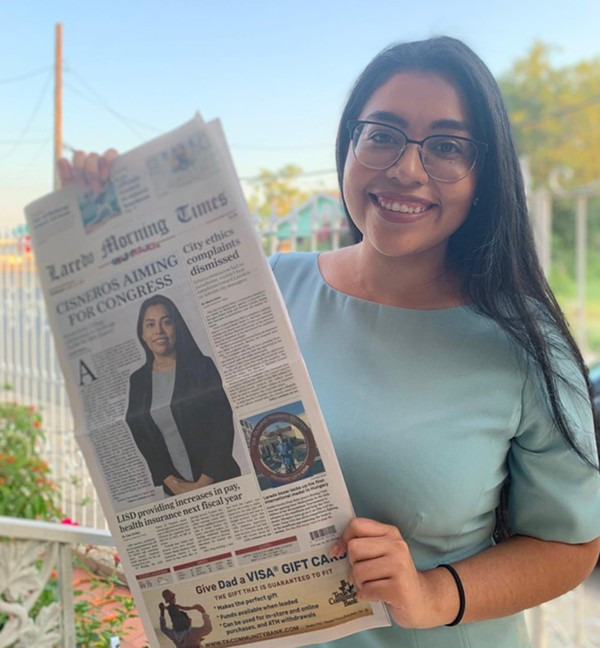 Justice Democrats-backed Jessica Cisneros shows off the Laredo Morning Times front page announcing her candidacy. - TWITTER / @JCISNEROSTX