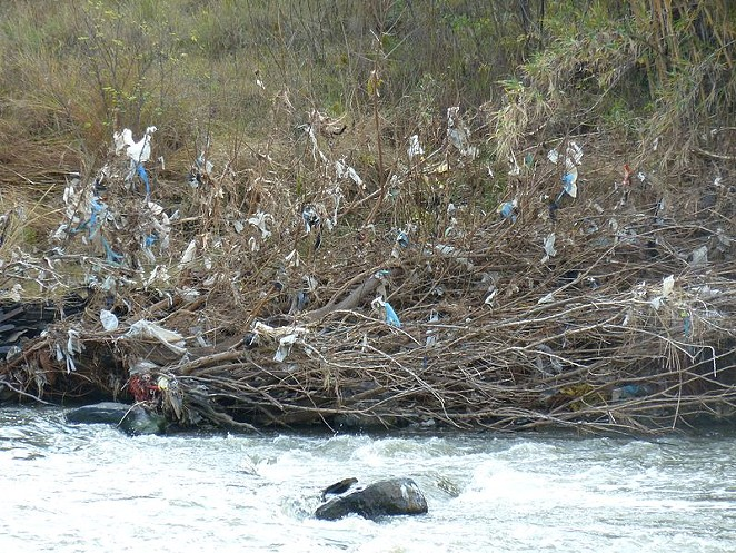 The effect of plastic bag pollution on a river. - WIKIMEDIA COMMONS