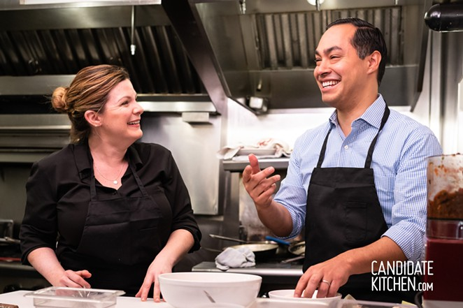 "2020 Presidential Candidate makes breakfast tacos and salsa with ""Candidate Kitchen"" host Chef Julie Cutting Kelley in Portsmouth, New Hampshire. - ROGER GOUN/CANDIDATE KITCHEN"
