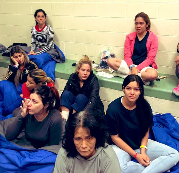 A photo tweeted by U.S. Rep. Joaquin Castro showing migrant women in a cramped cell. - TWITTER / @JOAQUINCASTROTX