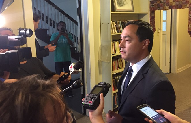 U.S. Rep. Joaquin Castro speaks to the press in San Antonio on Tuesday. - SANFORD NOWLIN