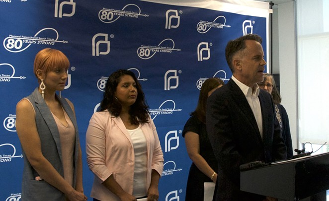 Planned Parenthood South Texas CEO Jeffrey Hons speaks at event commemorating the organization's 80th year serving the region. - SANFORD NOWLIN