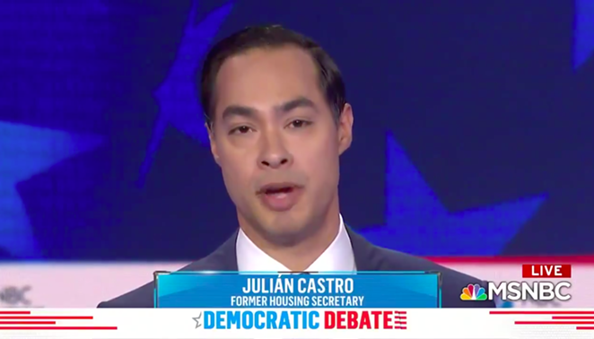 Julián Castro addresses the camera during June's Democratic presidential debate. - SCREENSHOT VIA MSNBC