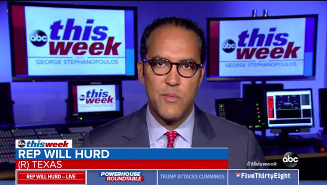Will Hurd tells ABC News' George Stephanopoulos why Trump's latest Twitter tantrum isn't racist. - SCREEN CAPTURE VIA TWITTER / @ABC