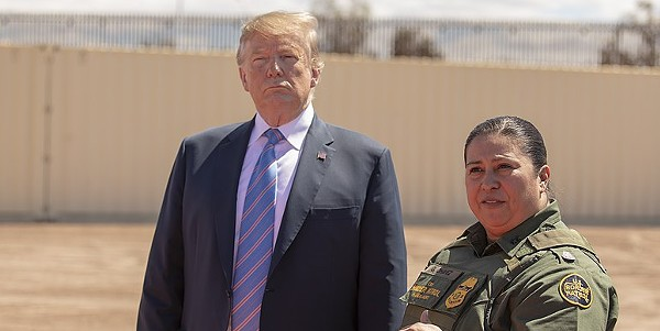 President Trump visits the U.S.-Mexico border in April to see the installation of a newly installed section of wall. - CBP PHOTOGRAPHY