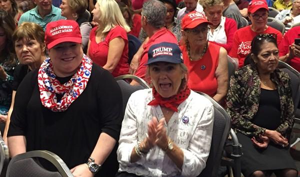 The faithful await Don Jr.'s appearance at Tuesday's Trump campaign rally. - SANFORD NOWLIN