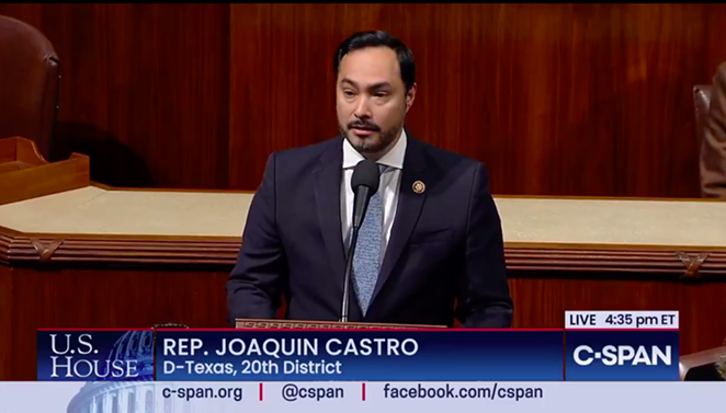 U.S. Rep. Joaquin Castro speaks from the House floor during the impeachment process. - C-SPAN SCREEN CAPTURE