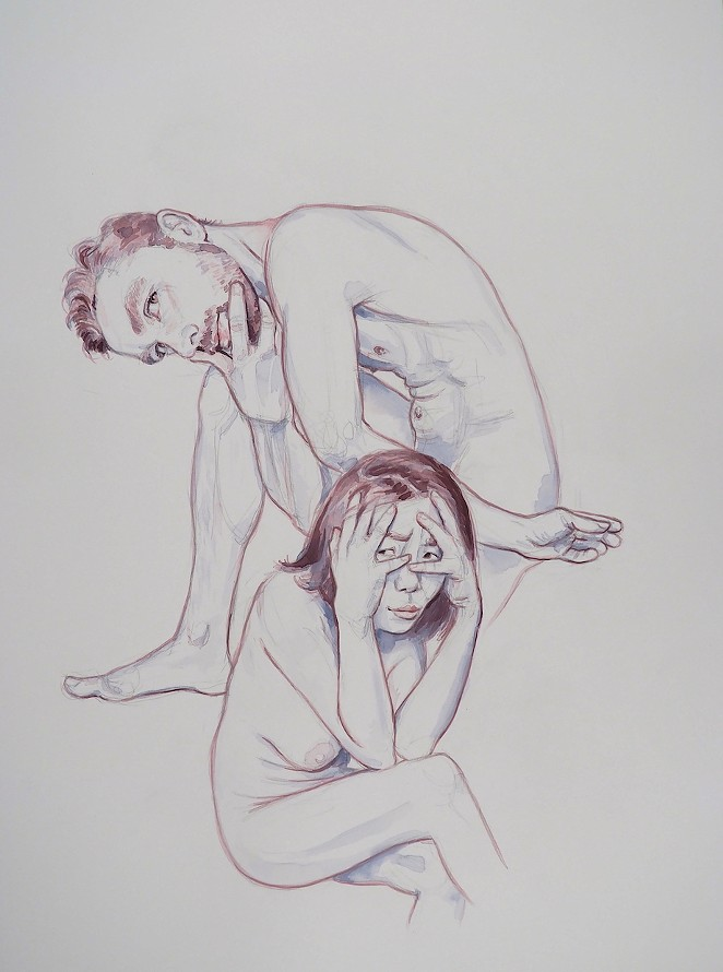 Fontenot's 2017 drawing Ben with KanKan Hiding Her Eyes shows his unique approach to capturing nudes. - HEYD FONTENOT