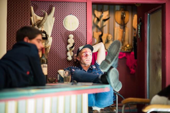 """Guests amid Fontenot's Artpace installation """"Unnatural Urges."""" - FRANCISCO CORTEZ"""