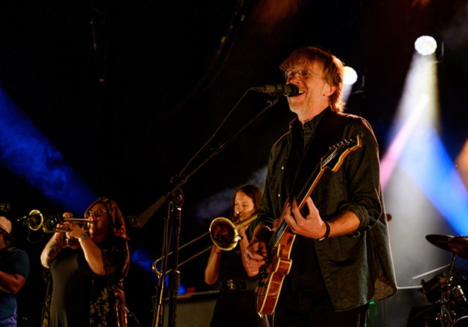 Anastasio's band, featuring both a horn section and extra percussionist, adopt new arrangements for some familiar Phish tunes. - JOHN DAVID SCARCLIFF