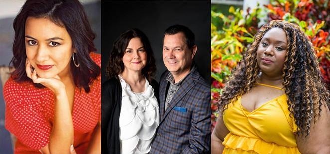 "From Left: Amalia Ortiz, Yvette Benavides, David Martin Davies and Andrea ""Vocab"" Sanderson - COURTESY OF SAN ANTONIO BOOK FESTIVAL / COLLAGE BY KELLY MERKA NELSON"
