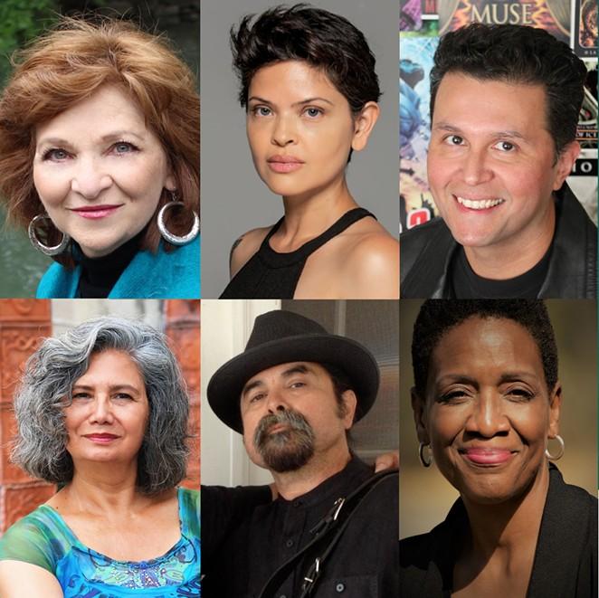 From top left: Carmen Tafolla, Myriam Gurba, John Picacio, Bárbara Renaud González, Juan Tejeda and Denise McVea - COURTESY OF #DIGNIDADLITERARIA